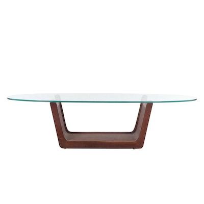 Mid Century Modern Teak Glass Top Coffee Table