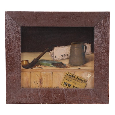 Simpson Trompe l'Oeil Still Life Oil Painting, 1889