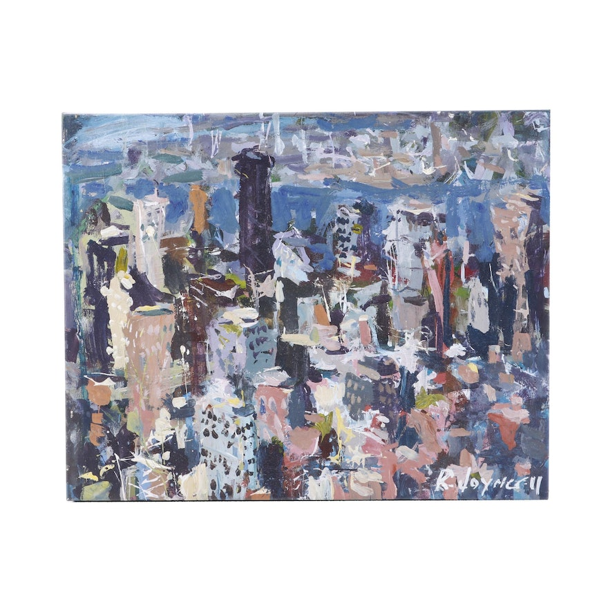 Abstract City Skyline Oil Painting
