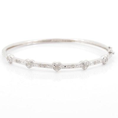 Sterling Silver 0.28 CTW Diamond Bangle Bracelet