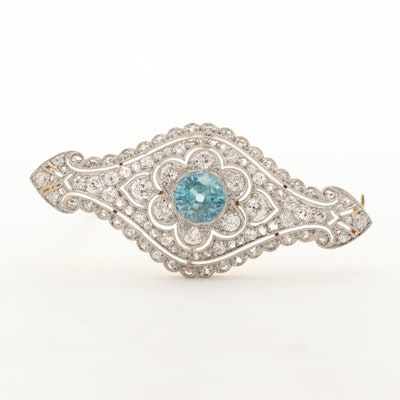 Victorian 14K Gold 1.60 CT Zircon and 1.02 CTW Diamond Brooch with Platinum Top