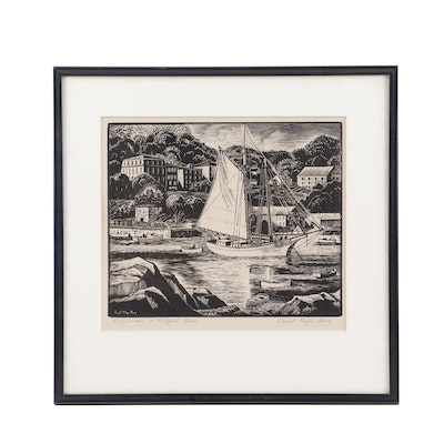 "Carroll Thayer Berry Woodblock ""Windjammer in Rockport, Maine"""