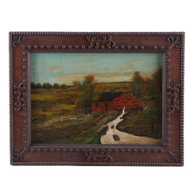 Late 19th Century Folk Oil Painting of Rural Landscape