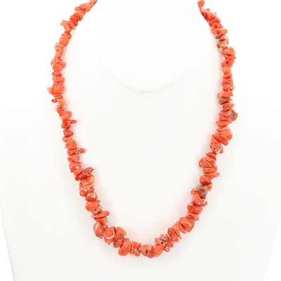 14K Yellow Gold Graduated Coral Necklace