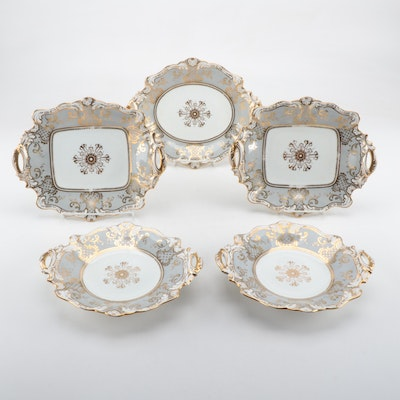 John Ridgway Gray Ground Porcelain Serving Pieces, 1850-1856