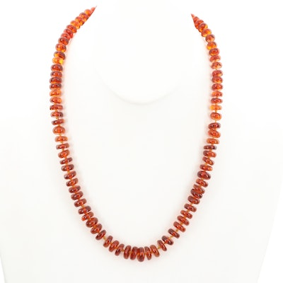 14K Yellow Gold Amber Necklace