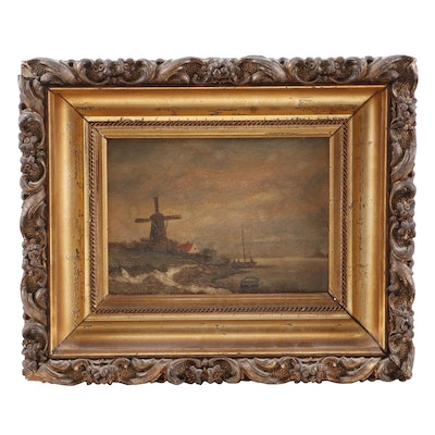 19th Century Coastal Landscape Oil Painting