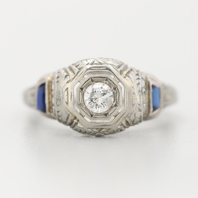 Art Deco 18K White Gold Diamond and Synthetic White Sapphire Ring