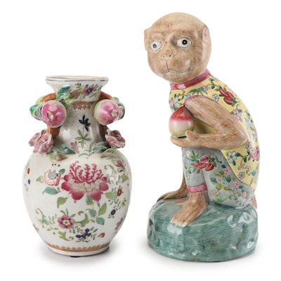Chinese United Wilson Floral Vase and Monkey with Peach Figurine