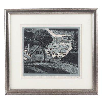 "Carroll Thayer Berry Woodcut ""Morning - Rockport - Maine Coast"""
