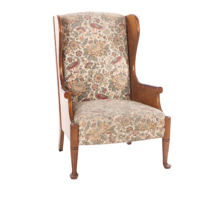 Queen Anne Style Cherry-Finish Wingback Chair, Mid to Late 20th Century