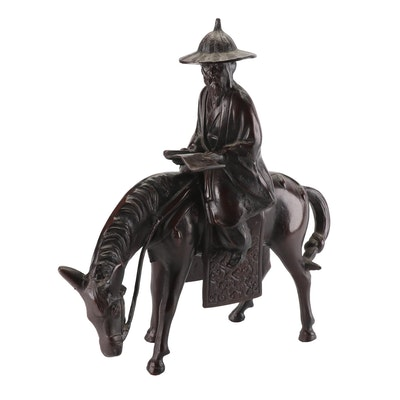 Chinese Bronze Statue of a Scholar on Horse