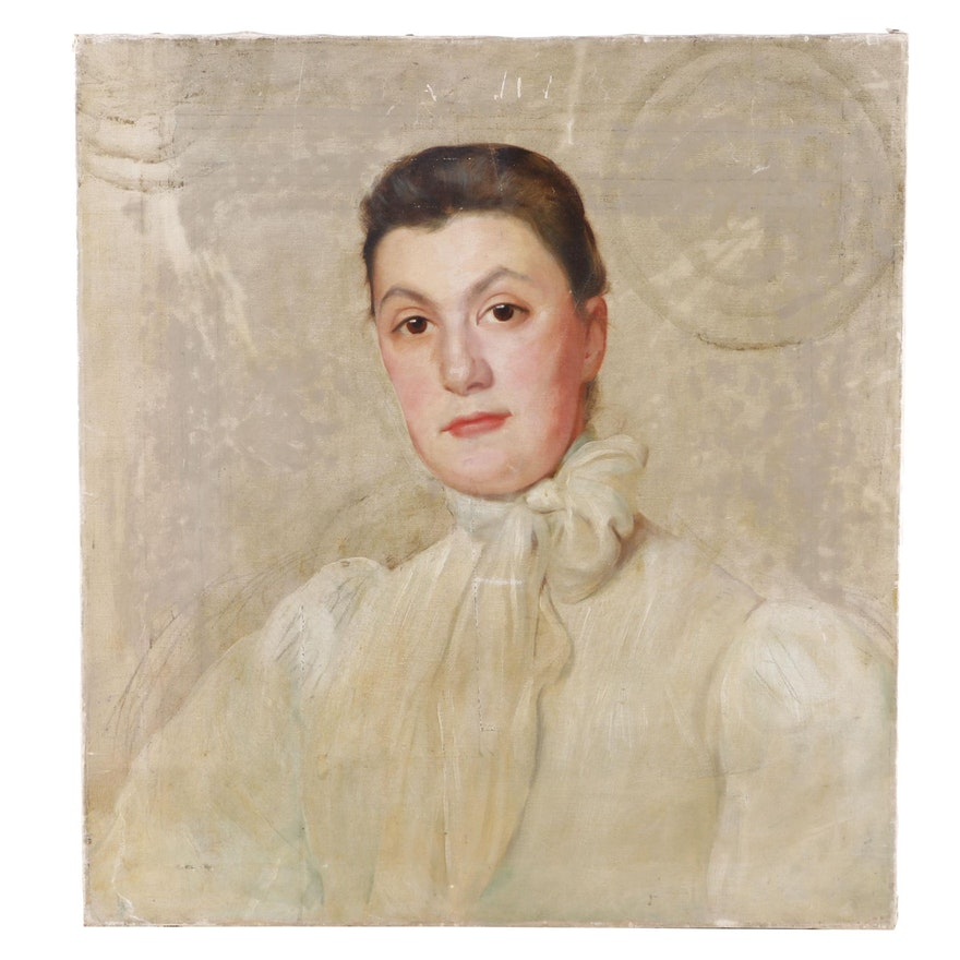 Late 19th Century Oil Portrait of Woman