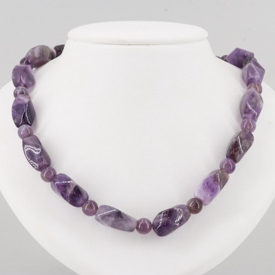 Silver Tone Amethyst Beaded Necklace