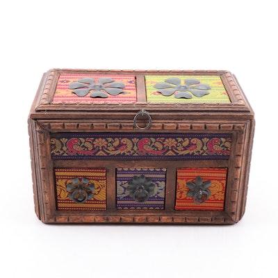 Indian Fabric Embellished Carved Wood Tea Storage Box