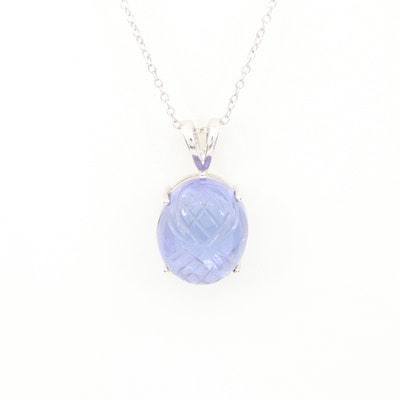 Sterling Silver Carved Tanzanite Pendant Necklace
