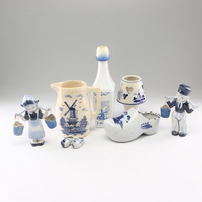 Dutch Style Blue and White Ceramic Figurines, Candle Holder and More