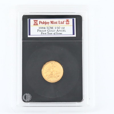1984 Isle of Man 1/10 Gold Angel Bullion Proof Coin