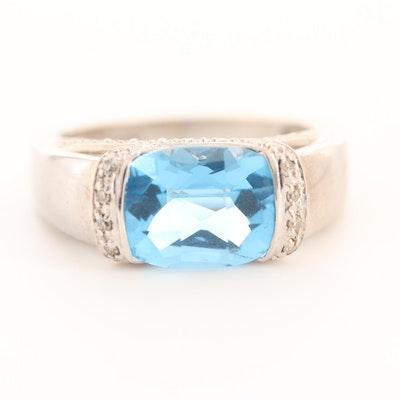 Alwand Vahan 14K White Gold Blue Topaz and Diamond Ring