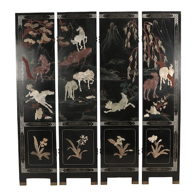 Chinese Hardstone, Mother-of-Pearl and Bone Inlaid Lacquer Four-Panel Screen
