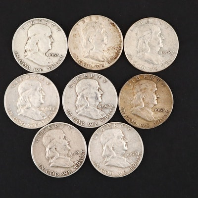 Group of Eight Benjamin Franklin Silver Half Dollars