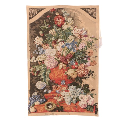 Machine Woven Floral Motif Wall Tapestry with Tassels