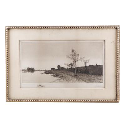 Edward Loyal Field Landscape Etching, 1890