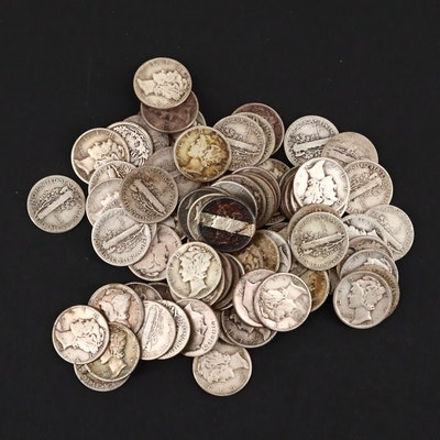 Eighty-two American Silver Dimes Including an 1877 Seated Liberty