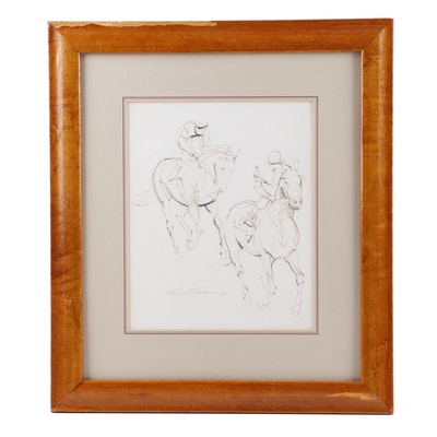 Robert Riger Sketch of Polo Players