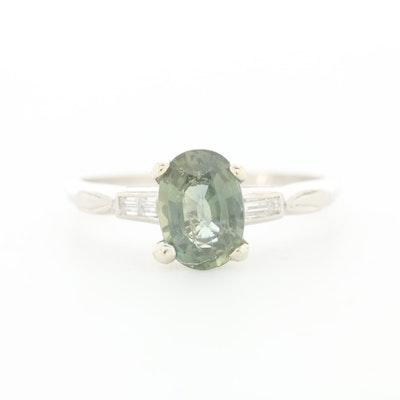 Platinum 1.17 CT Color Change Sapphire and Diamond Ring
