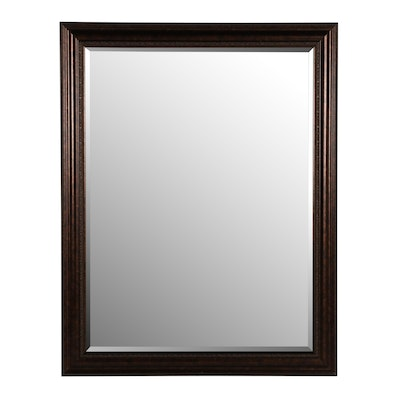 Antiqued Bronze Finish Wood Framed Mirror, Contemporary