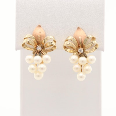 14K Yellow Gold Cultured Pearl and Cubic Zirconia Earrings with Rose Gold Accent