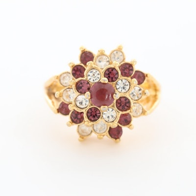 Gold Tone Glass Ring