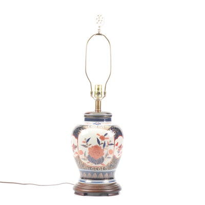 Chinese Imari Style Hand-Painted and Gilt Ceramic Table Lamp