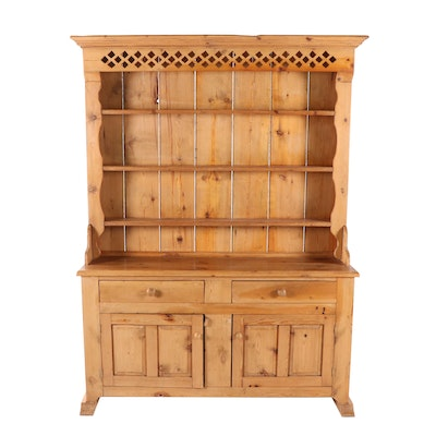 Scrubbed Pine Welsh Style Plate Dresser, Late 20th Century