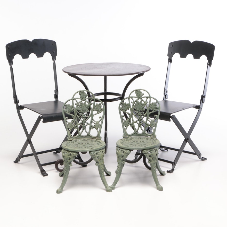 Diminutive Metal Patio Table and Chairs with Metal Doll Chairs