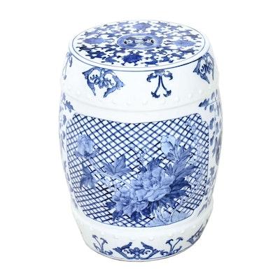 Japanese Floral Motif Ceramic Garden Stool