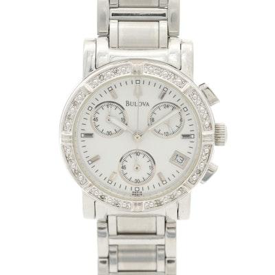 Bulova 96R19 Stainless Steel and Diamond Bezel Chronograph Wristwatch