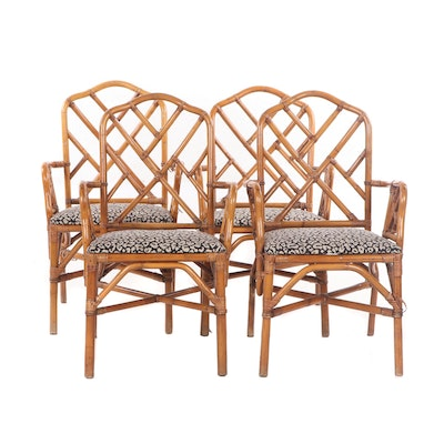 Set of Four Contemporary Rattan Cross-Back Armchairs
