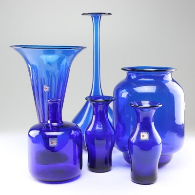 Blenko Hand-Blown Sapphire Glass Bottles and Vases, 1980s Vintage