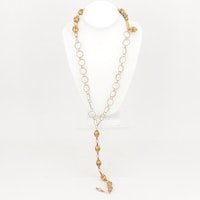 Gold Tone Enamel Bead and Imitation Pearl Necklace, Vintage