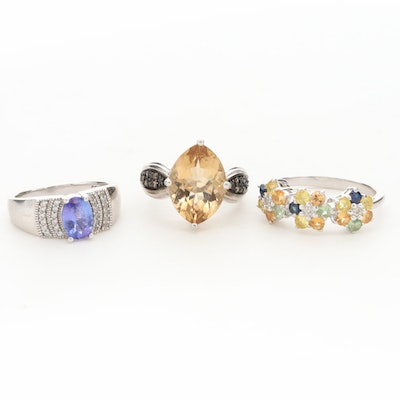 Sterling Silver Rings with Tanzanite, Citrine, Sapphire and Diamond