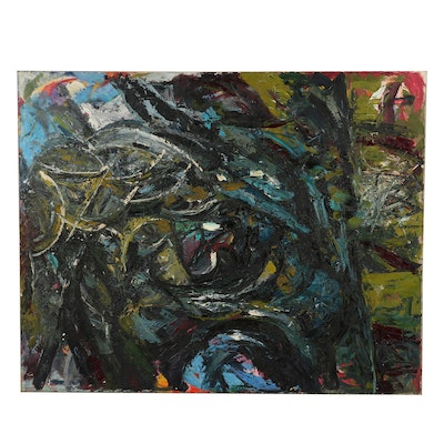 "Richard Snyder Monumental Abstract Oil Painting ""Fever"", 1985"