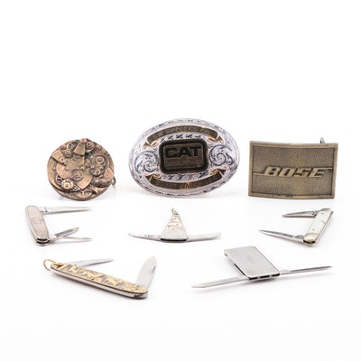 Belt Buckles and Pocket Multi-Tool Assortment Including Cat and Bose