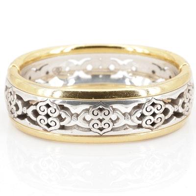 Brighton Gold Tone and Silver Tone Hinged Bangle Bracelet