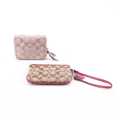 Coach Tan Signature Canvas and Leather Wallet and Wristlet