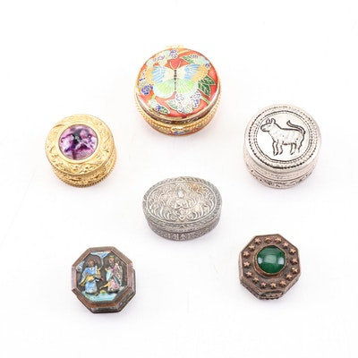 Asian and Asian-Inspired Metal Pill Boxes