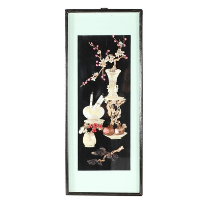 Chinese Carved Shell and Lacquered Shadowbox Wall Panel