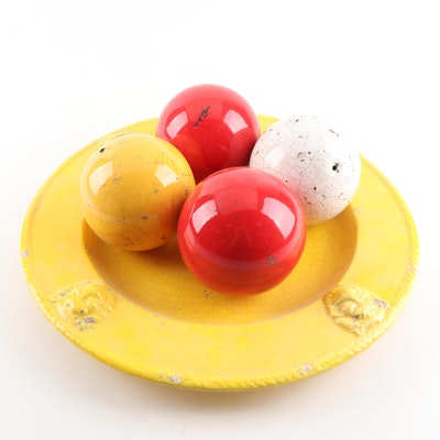 Decorative Ceramic Platter and Carpet Balls