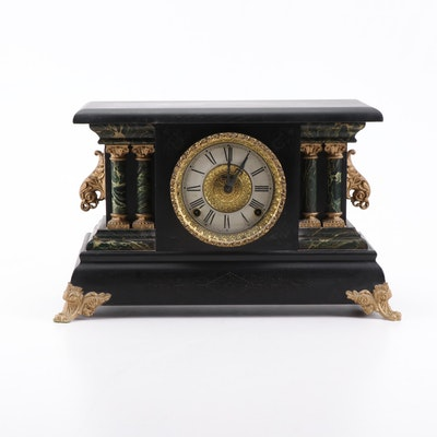 "E. Ingraham ""Adrian"" Adamantine Style Mantel Clock, circa 1900"